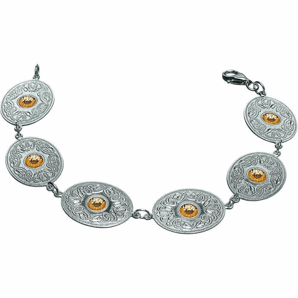 Sterling Silver Celtic Warrior® Shield Bracelet with 18K Gold Bead- Oval
