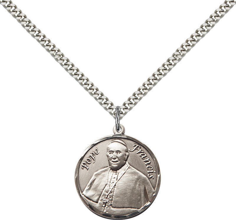 "Sterling Silver Pope Francis Medium Round Pendant on an 18"" Light Rhodium Curb Chain with a Clasp"