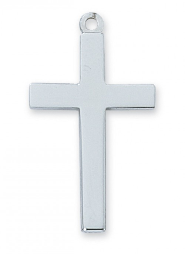 """Sterling Silver Medium Cross on a 20"""" Rhodium Plated Chain"""