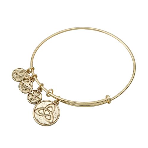 Gold Tone Trinity Knot Charm Bangle