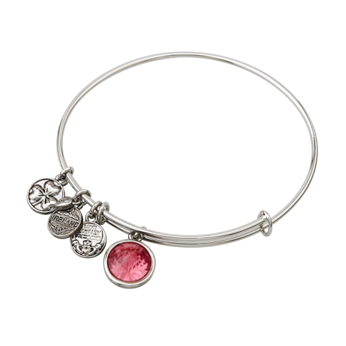 Silver Tone October Charm Bangle