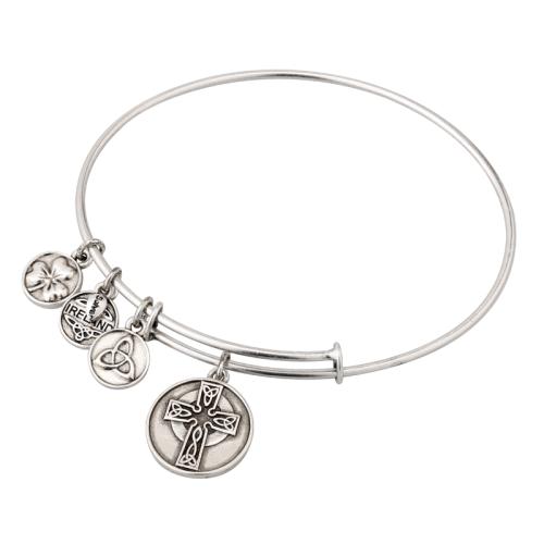 Silver Tone Celtic Cross Charm Bangle