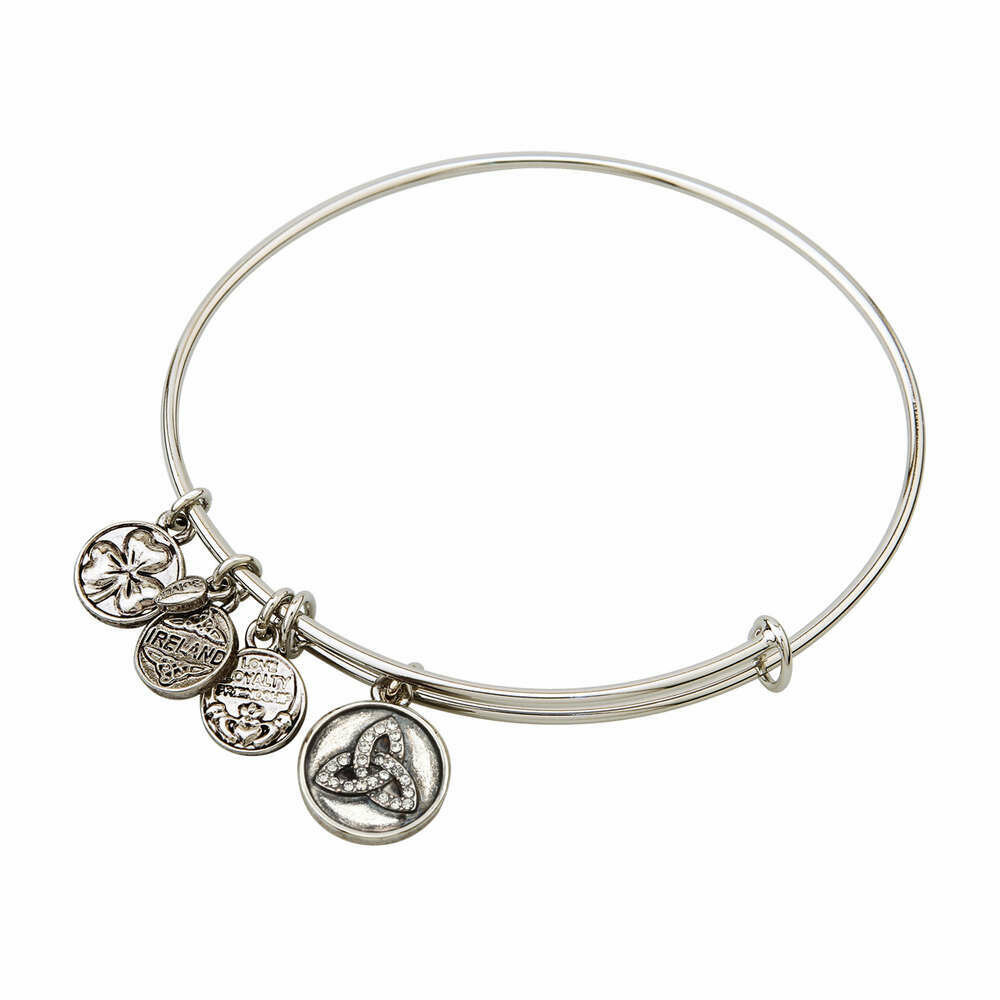 Silver Tone Crystal Trinity Knot Charm Bangle