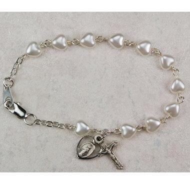 Youth White Pearl Heart Rosary Bracelet