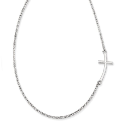 """Sterling Silver Sideways Curved Cross- Offset Design, on a 18"""" Sterling Silver Chain"""