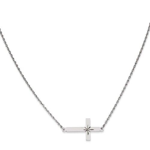 """Sterling Silver Diamond Cut Sideways Cross on an 18"""" Sterling Silver Chain"""
