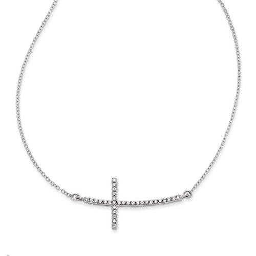 """Sterling Silver CZ Sideways Cross on an 16""""/18"""" Sterling Silver Chain"""