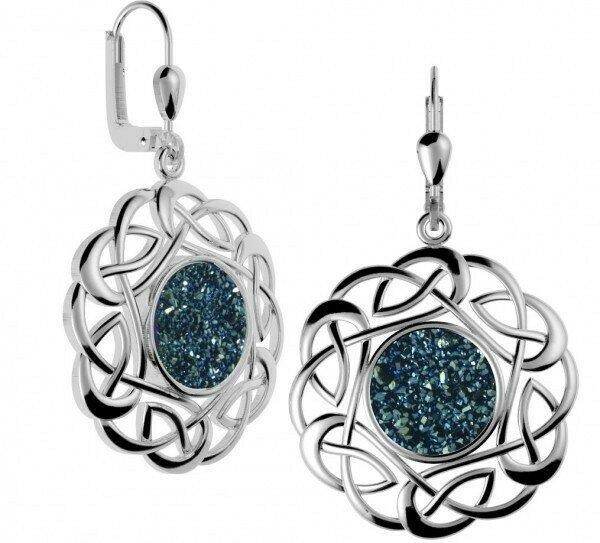 Sterling Silver Round Celtic Drusy Earrings- Sea Green