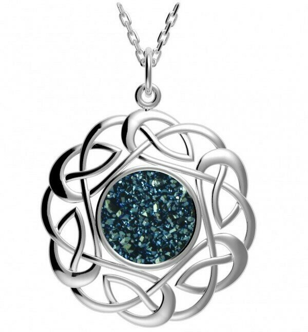 """Sterling Silver Round Celtic Knot Drusy Pendant- Sea Green, & 18"""" Sterling Silver Chain"""