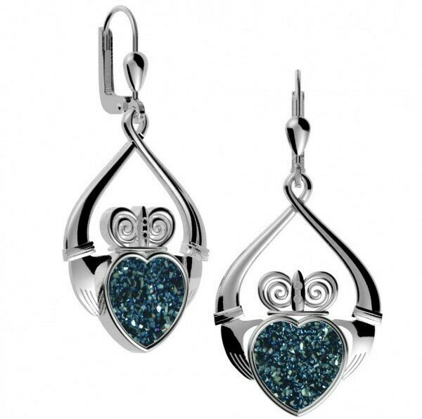 Sterling Silver Claddagh Drusy Earrings- Sea Green