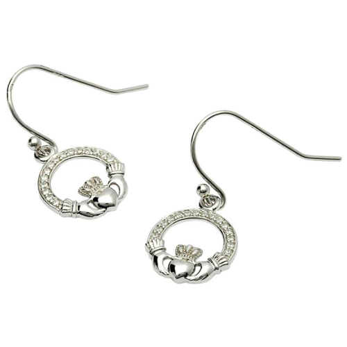 Sterling Silver Claddagh Stone Set CZ Earrings