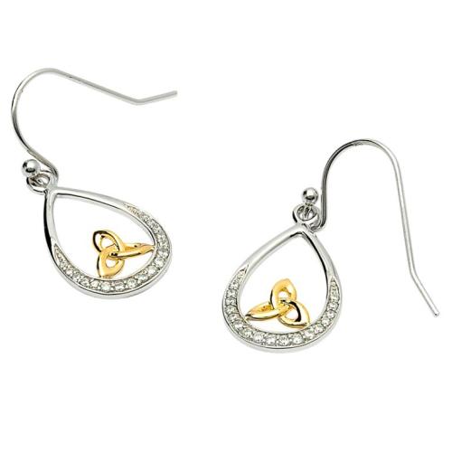 Sterling Silver Trinity Knot Stone Set Earrings