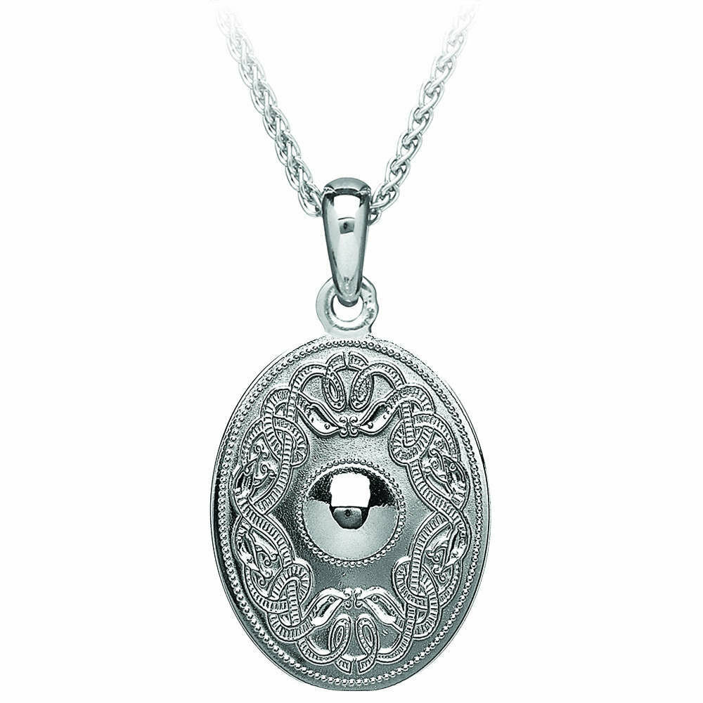 "Sterling Silver Original Celtic Warrior® Pendant- Oval & 18"" Sterling Silver Chain"