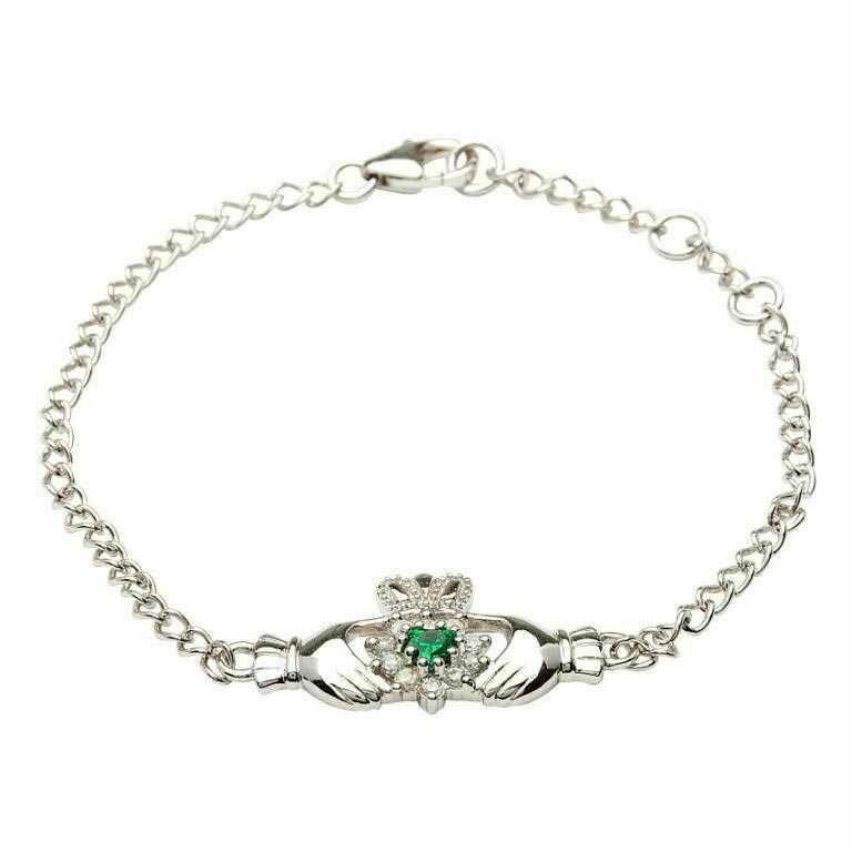 Sterling Silver Claddagh Stone Set Bracelet