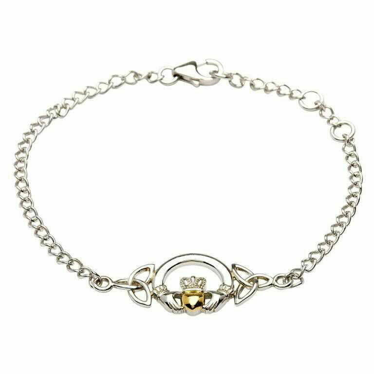 Sterling Silver Claddagh Bracelet with 14K Gold Plate Heart