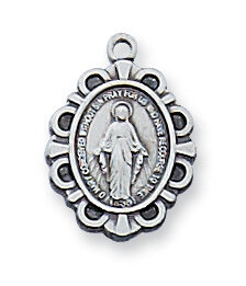 Sterling Silver Oval Miraculous Medal on a 16