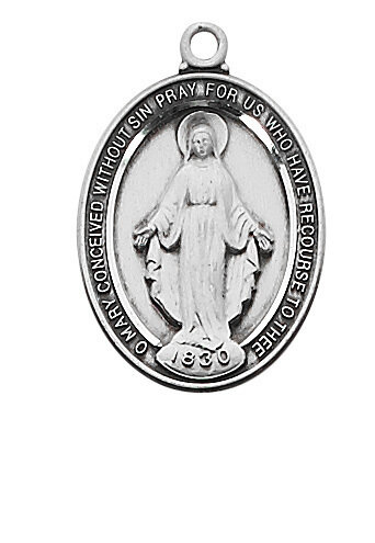 """Beautiful Sterling Silver Oval Miraculous Medal on a 18"""" Rhodium Plated Chain"""