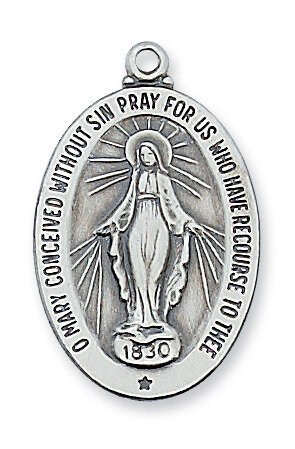 "Sterling Silver Oval Miraculous Medal on a 20"" Rhodium Plated Chain"