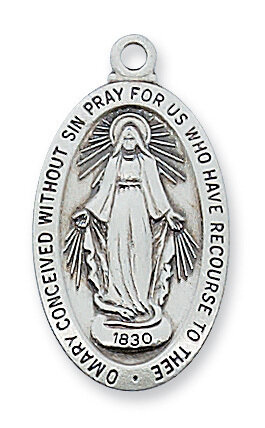 "Sterling Silver Oval Fine Miraculous Medal on a 18"" Rhodium Plated Chain"
