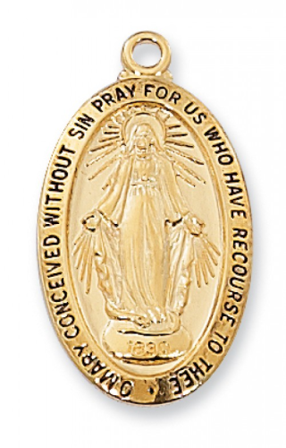 """Gold Plated Large Oval Miraculous Medal on an 18"""" Gold Plated Chain"""