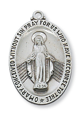 """Sterling Silver Miraculous Medal on a 24"""" Rhodium Plated Chain"""
