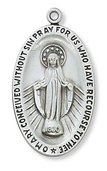 """Sterling Silver Oval Miraculous Medal on a 24"""" Rhodium Plated Chain"""