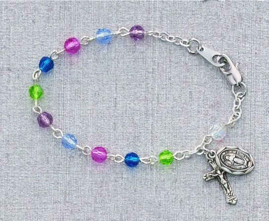 "Multi-Color Baby Rosary Bracelet- 5.5"""