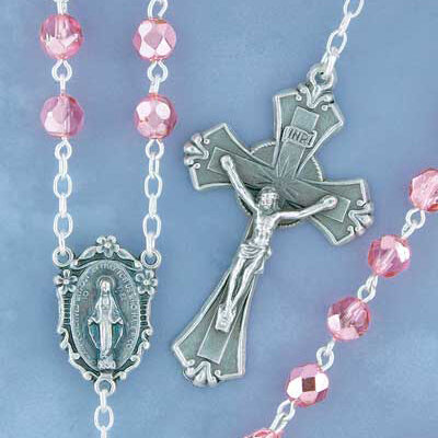 Pink Shimmer Bead Rosary