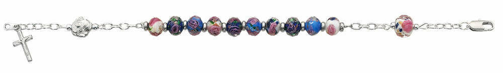 Adult Multi-Colored Crystal Rosary Bracelet