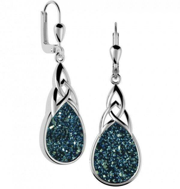 Sterling Silver Long Celtic Drusy Earrings- Sea Green