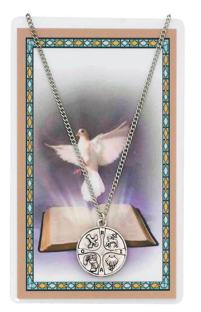 "RCIA Medal on a 18"" Chain and Prayer Card"