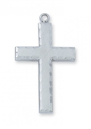 """Sterling Silver Large Edged Cross on a 24"""" Rhodium Plated Chain"""