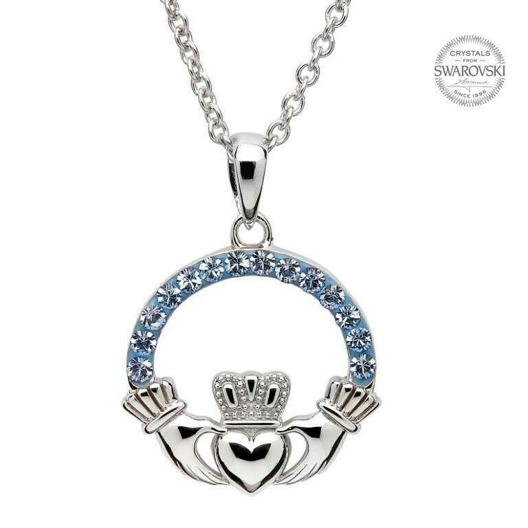 Claddagh Pendant Embellished with Sapphire Swarovski® Crystals