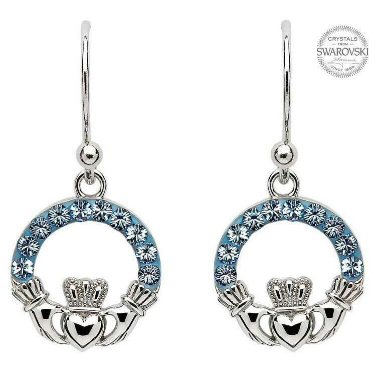 Claddagh Earrings Embellished with Sapphire Swarovski® Crystals