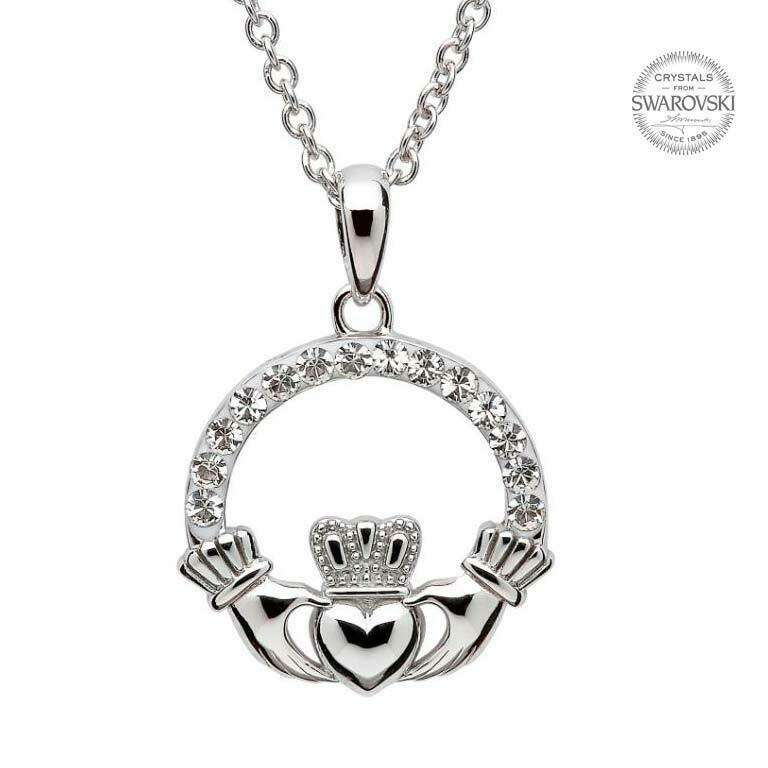 Claddagh Pendant Embellished with Swarovski® Crystals