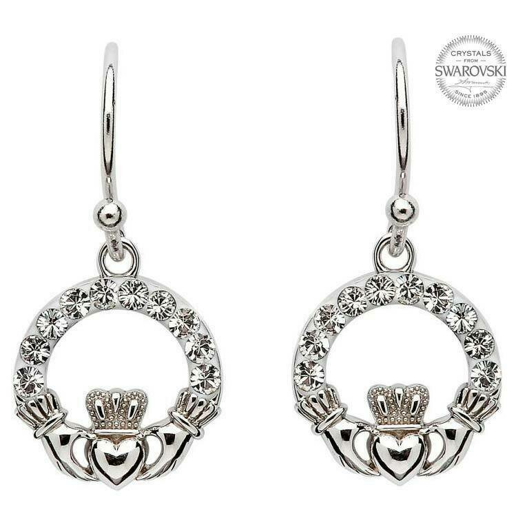 Claddagh Earrrings Embellished with Swarovski® Crystals