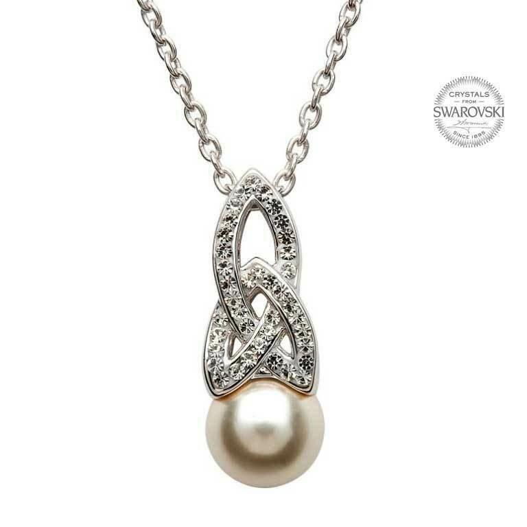 Celtic Pearl Pendant Adorned with Swarovski® Crystals