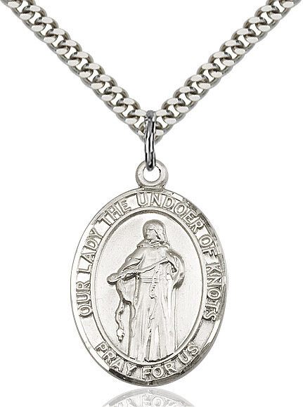"""Sterling Silver Our Lady, Undoer of Knots Pendant on a 24"""" Light Rhodium Heavy Curb Endless Chain"""