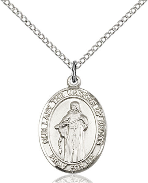 """Sterling Silver Our Lady, Undoer of Knots Pendant on a 18"""" Light Rhodium Curb Chain with a Clasp"""