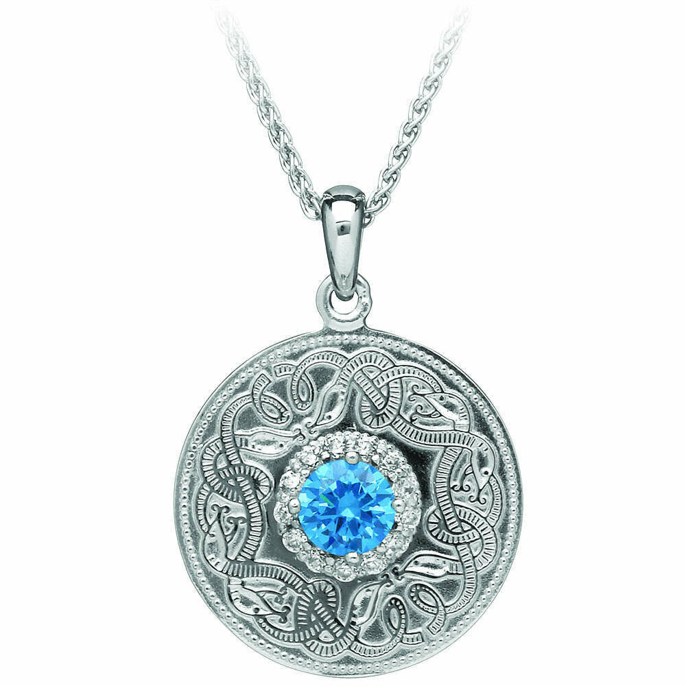 """Sterling Silver Swiss Blue Celtic Warrior® Pendant & 18"""" Sterling Silver Chain"""