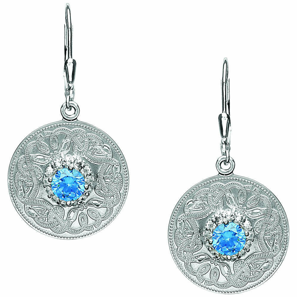 Sterling Silver Swiss Blue Celtic Warrior® Earrings with Clear Cubic Zirconia