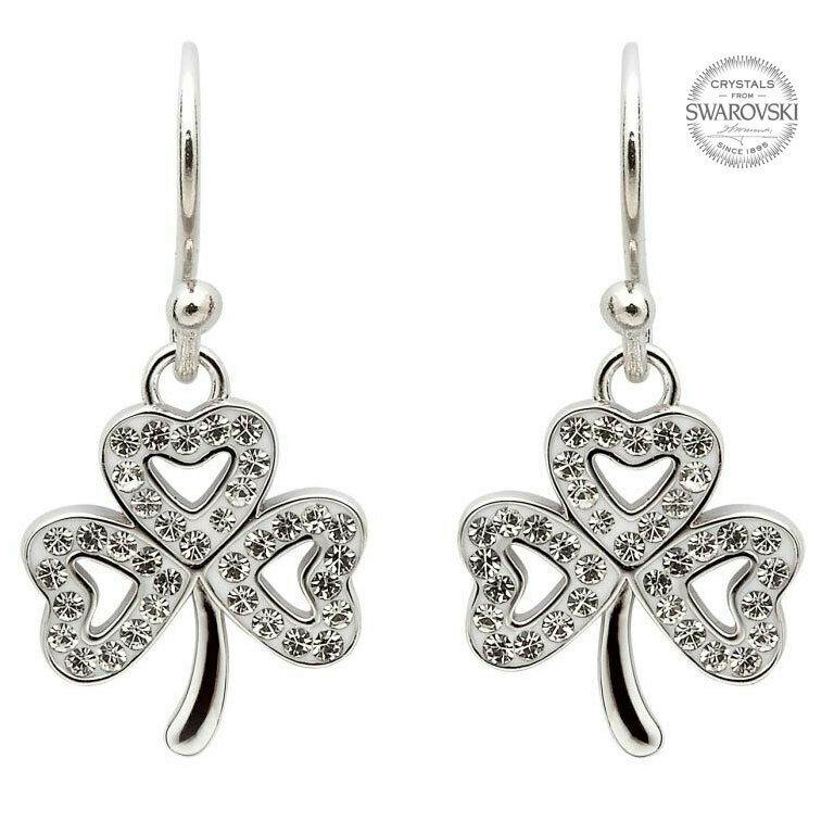 Sterling Silver Shamrock Earrings Adorned with Swarovski® Crystals