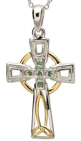 Sterling Silver Celtic Trinity Knot Diamond and Emerald Cross & Chain