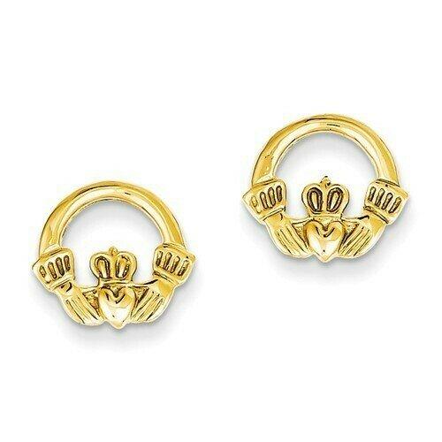 14kt Gold Claddagh Post Earrings