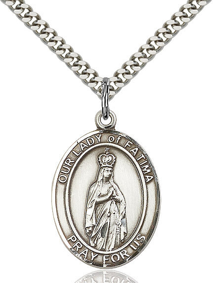 "Sterling Silver Our Lady of Fatima Pendant on a 24"" Light Rhodium Heavy Curb Endless Chain"