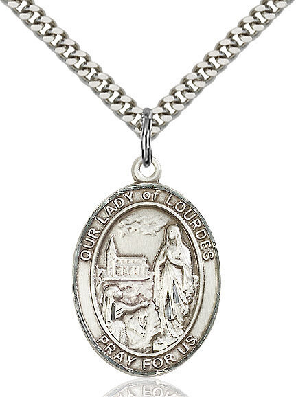"""Sterling Silver Our Lady of Lourdes Pendant on a 24"""" Light Rhodium Heavy Curb Endless Chain"""