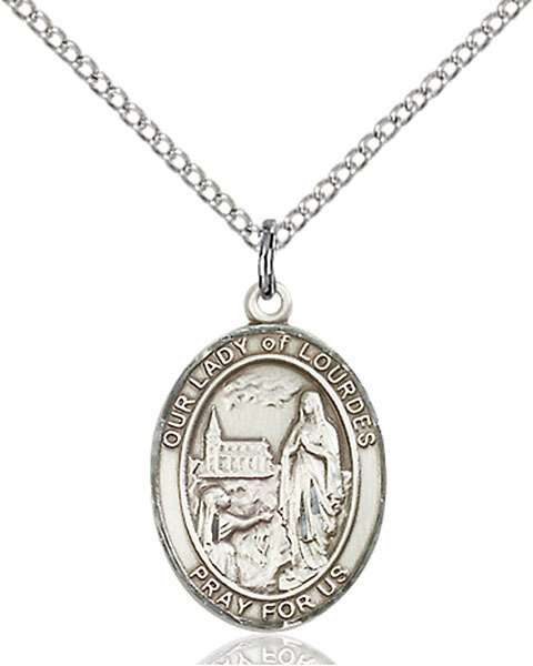"Sterling Silver Our Lady of Lourdes Pendant on a 18"" Light Rhodium Curb Chain with a Clasp"