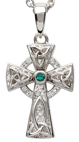 Sterling Silver Celtic Trinity Knot Cross With Swarovski® Crystal & Chain