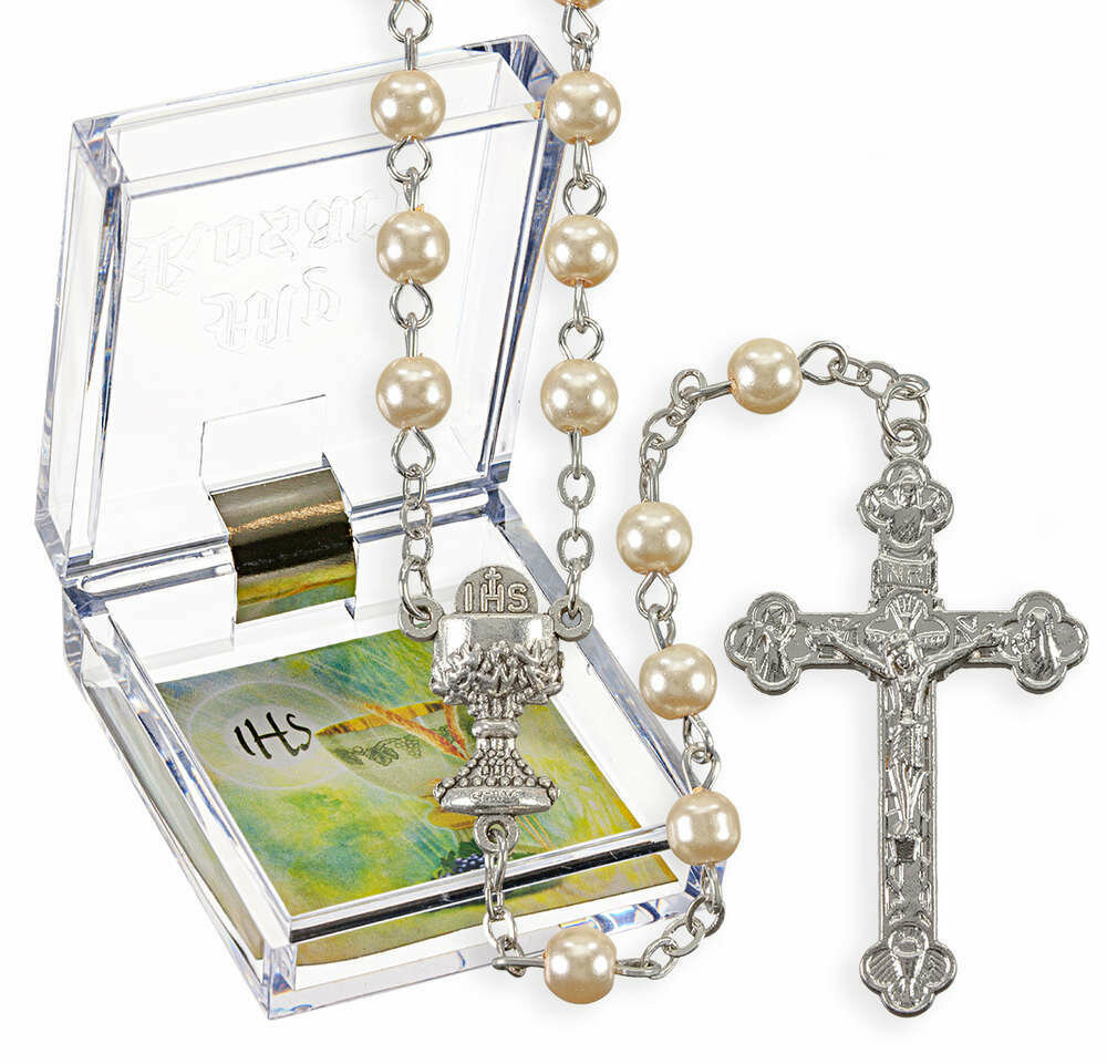 First Communion Rosary- 5mm Immitation Pearl Beads