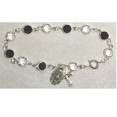 Adult Jet/Crystal Rosary Bracelet